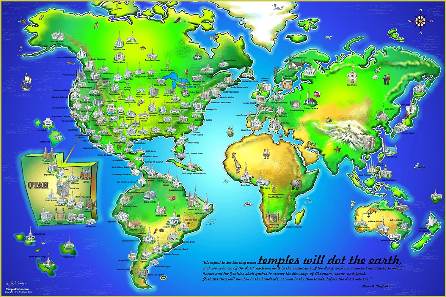 lds temple poster temples dot the earth prints