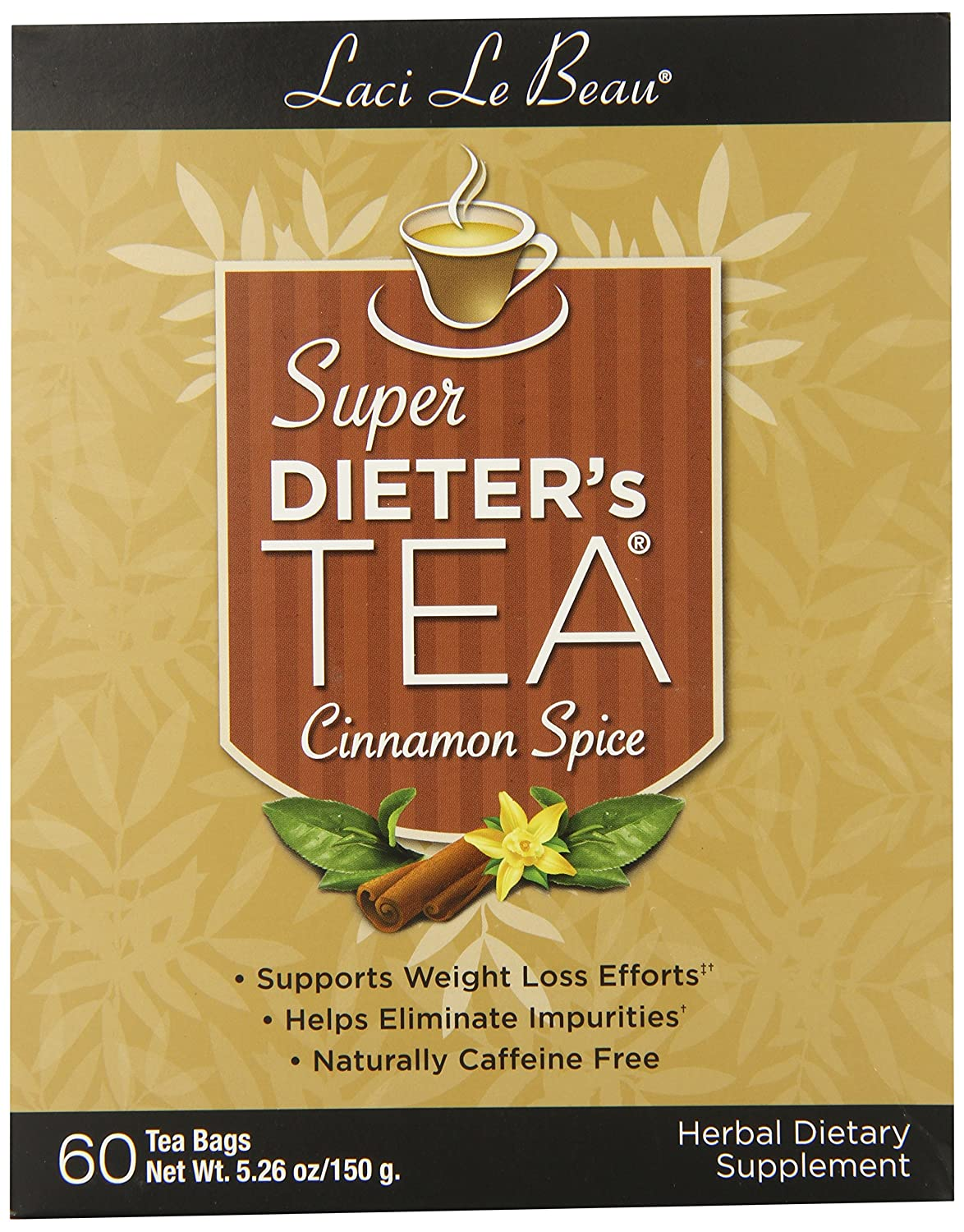 Laci Le Beau Super Dieter's Tea, Cinnamon Spice, 60 Count Box