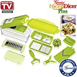 Nicer Dicer Plus by Genius | 13 pieces | kiwi-green | Fruit and vegetable slicer | As seen on TV