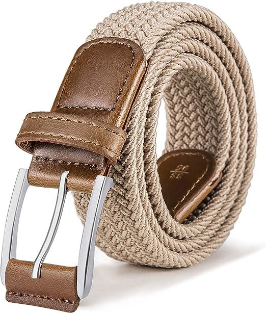 BULLIANT Cintura Uomo Cinture Elastica Intrecciata con Fibbia in Lega di Zinco 1 3//8