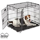 "Dog Crate | Midwest ICrate 24"" Double Door Folding Metal Dog Crate w/Divider Panel, Floor Protecting Feet & Leak-Proof…"