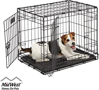 "Dog Crate | Midwest ICrate 24"" Double Door Folding Metal Dog Crate w/Divider Panel, Floor Protecting Feet & Leak-Proof Dog Tray 