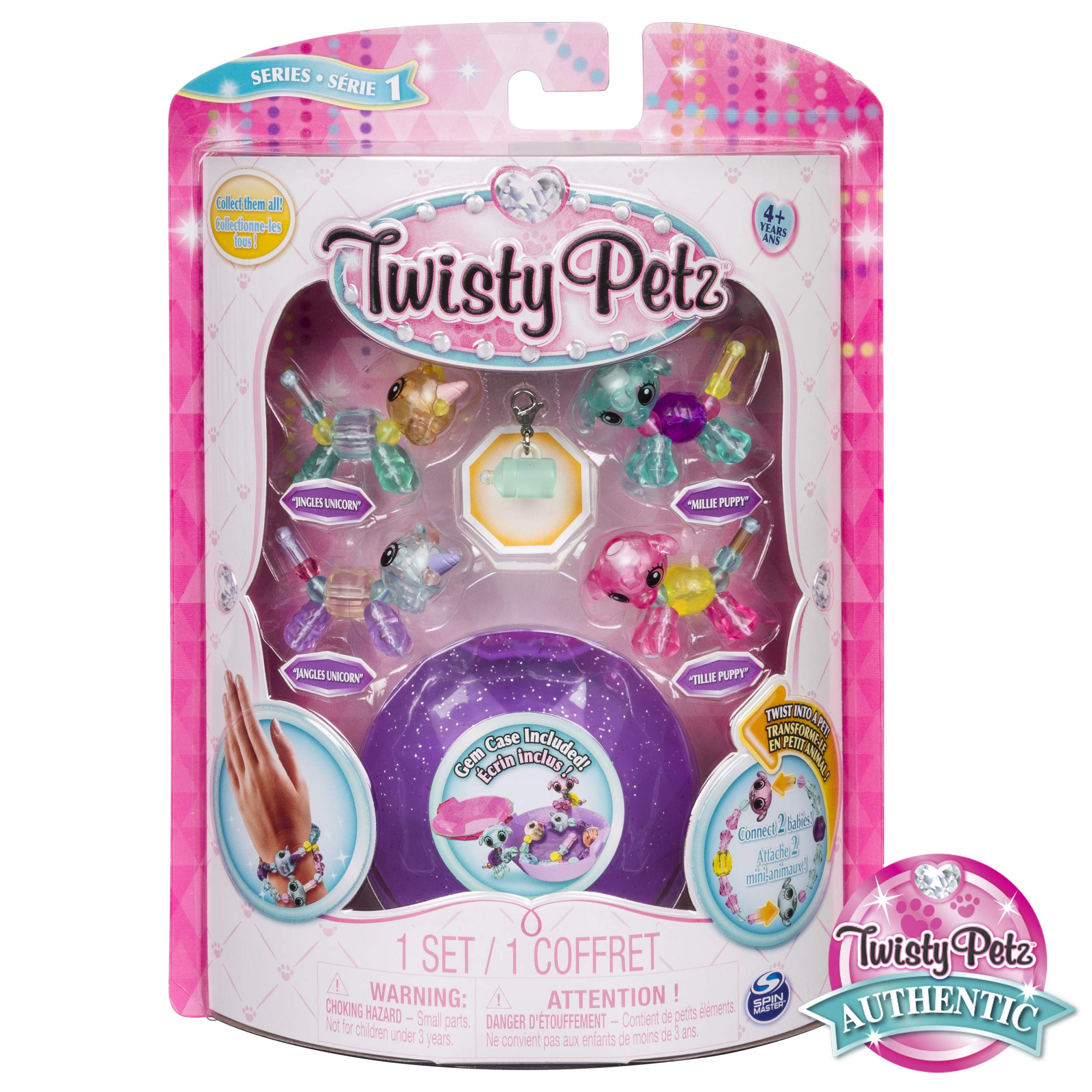 Twisty Petz Babies Collectible Bracelet Set, Unicorns & Puppies 4-Pack