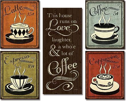 Amazon.com: Gango Home Decor Classic Retro Café, Espresso ...