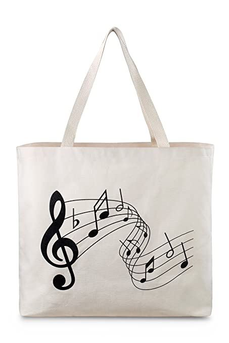 4b489c403 Reusable Canvas Bag - Attractive Tote Bag with Printed Music Theme. Durable  with Double Stitch