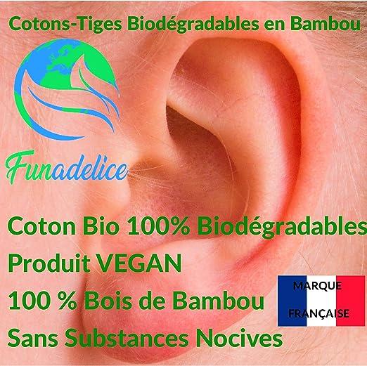 Essentiall Lot de 800 cotons-tiges en bambou biologique de qualit/é sup/érieure avec certification GOTS 100 /% coton biologique.