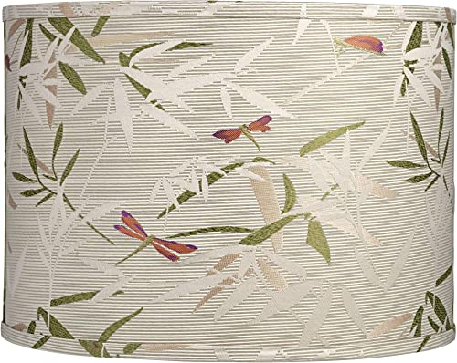 Golden Bamboo Leaves Drum Lamp Shade 15x15x11 Spider – Springcrest