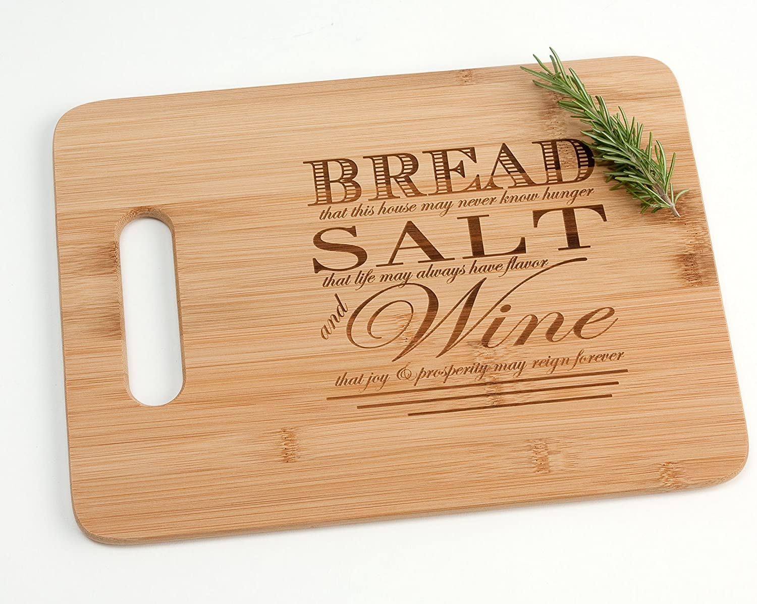 Amazon Com Engraved Wood Cutting Board Housewarming Gift Bread Salt Wine Quote From It S A Wonderful Life Kitchen Dining