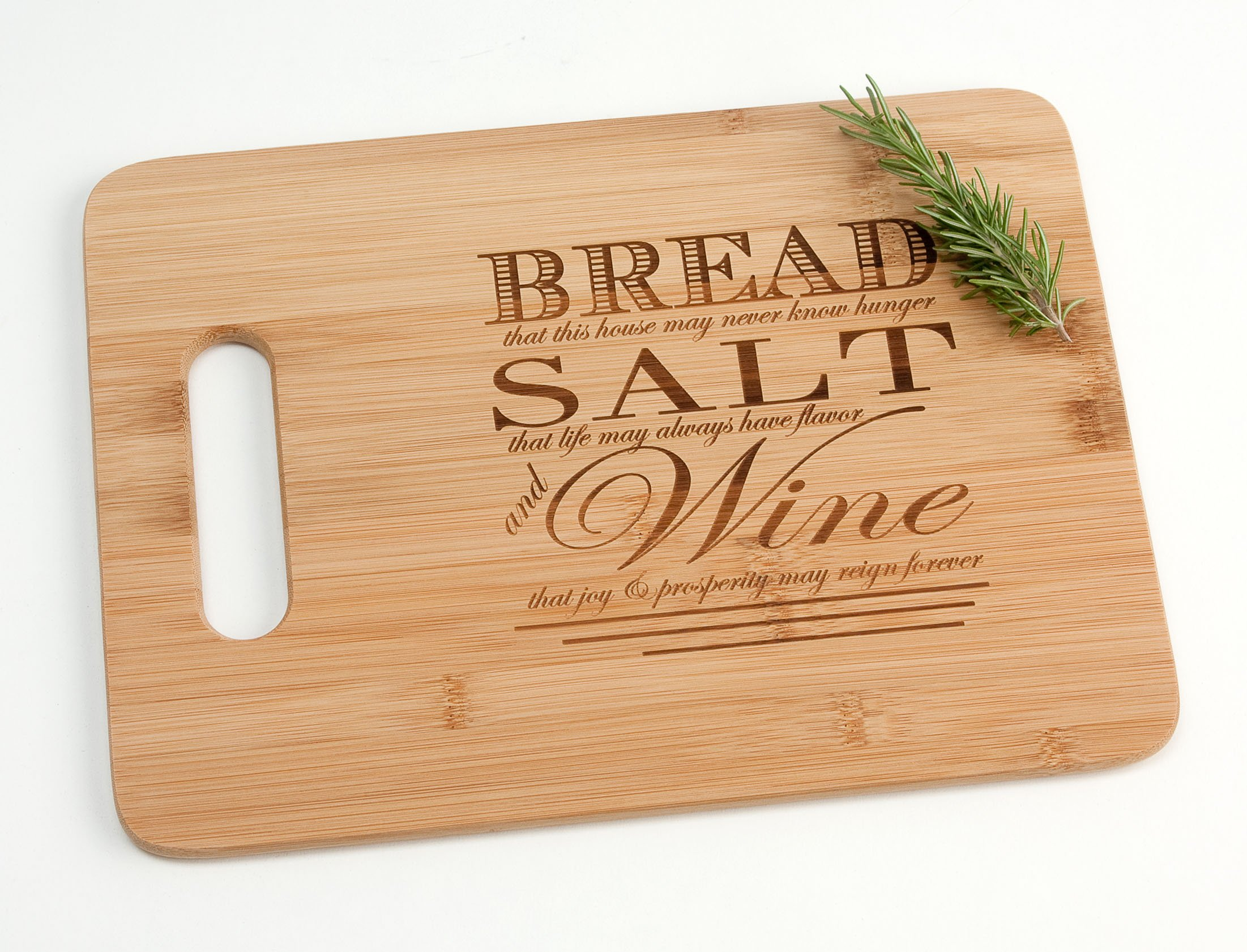 Engraved Wood Cutting Board Housewarming Gift, Bread Salt Wine Quote from It's a Wonderful Life