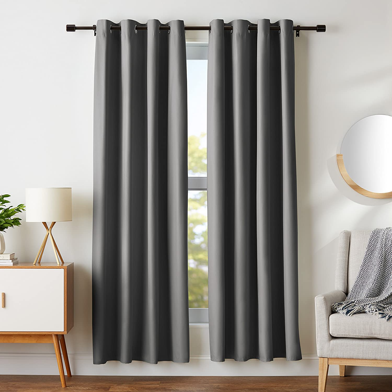 "AmazonBasics Room Darkening Blackout Window Curtains with Grommets Set, 52"" x 84"", Dark Grey"