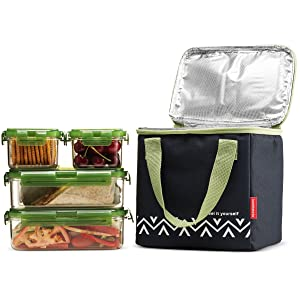 Komax Lunchmate Bento Lunch Bag and Box Kit - 1 Insulated Bag with 4 Tritan Food Storage Containers - Dishwasher, Freezer and Microwave Safe Bpa Free Plastic With Locking Lids Great for Woman and Kids