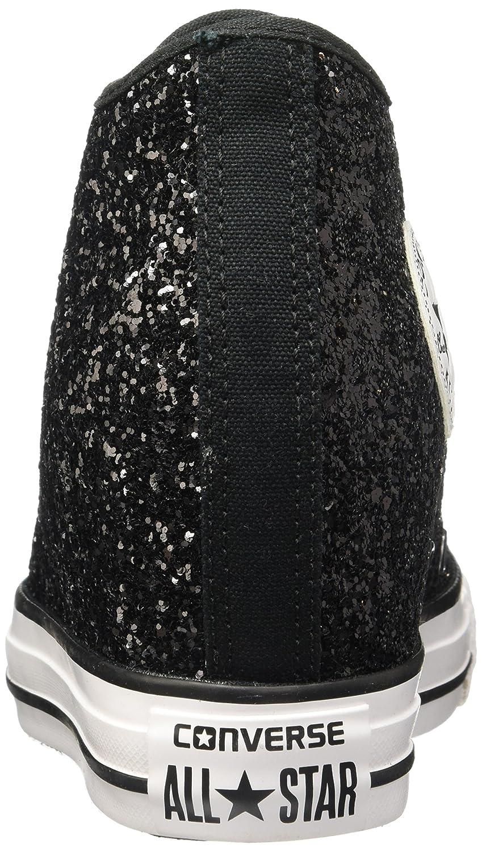749f2257370d Converse Scarpe All Star Mid Lux Glitter con tacco interno in Tessuto Nero  glitterato 553138C  Amazon.co.uk  Shoes   Bags