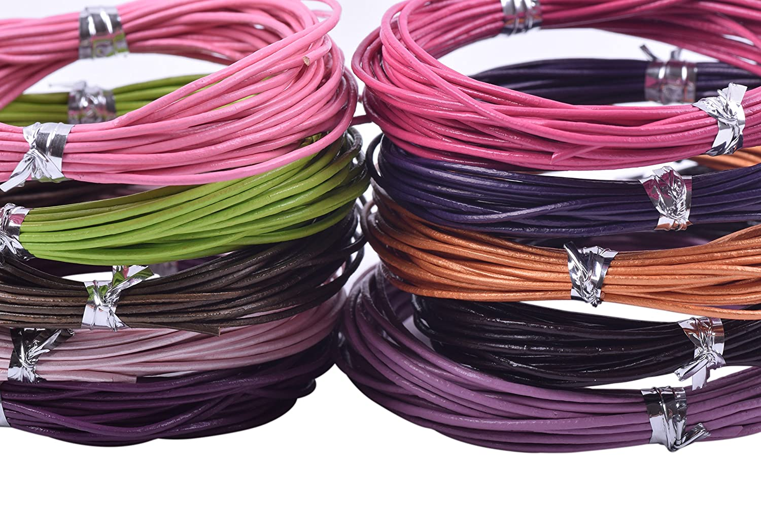 1.0mm KONMAY 50 Yards Round Jewelry Leather Cord Mixed 10 Colors Each Color 5 Yards