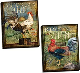 WallsThatSpeak 2 Retro Rooster Rustic Art Prints Country Kitchen Decor, 8 by 10-Inch, Green; Two Ready to Hang Stretched Canvas Pieces