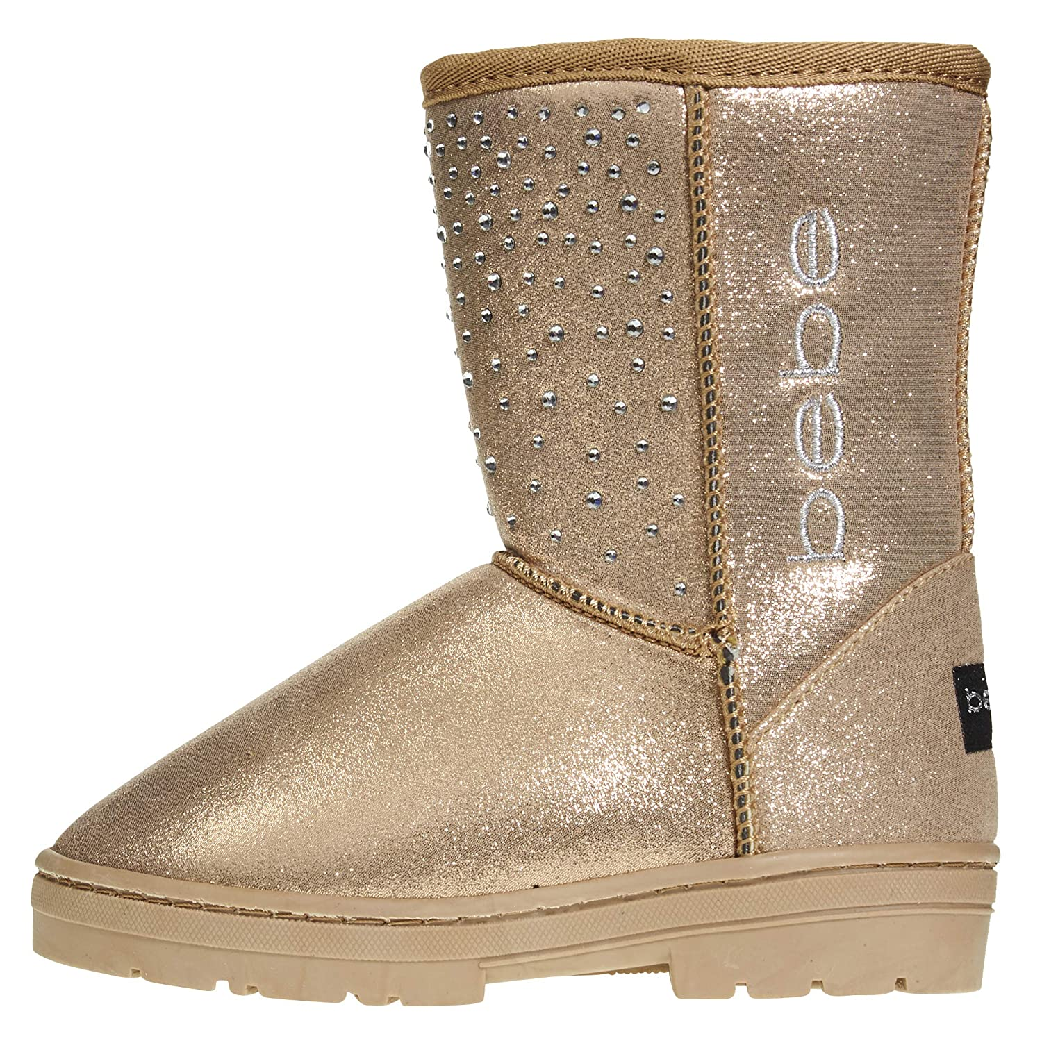bebe Girls Shimmer Winter Boots with Rhinestone Casual Warm Slip-On Shoes