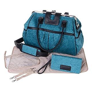 Waverly Baby by Trend Lab Strands Sterling Framed Diaper Bag, Teal, Black