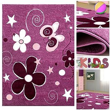 Kinderteppich sterne lila  Kinderteppich Spielteppich mit Schmetterlingen & Blumen in Lila ...