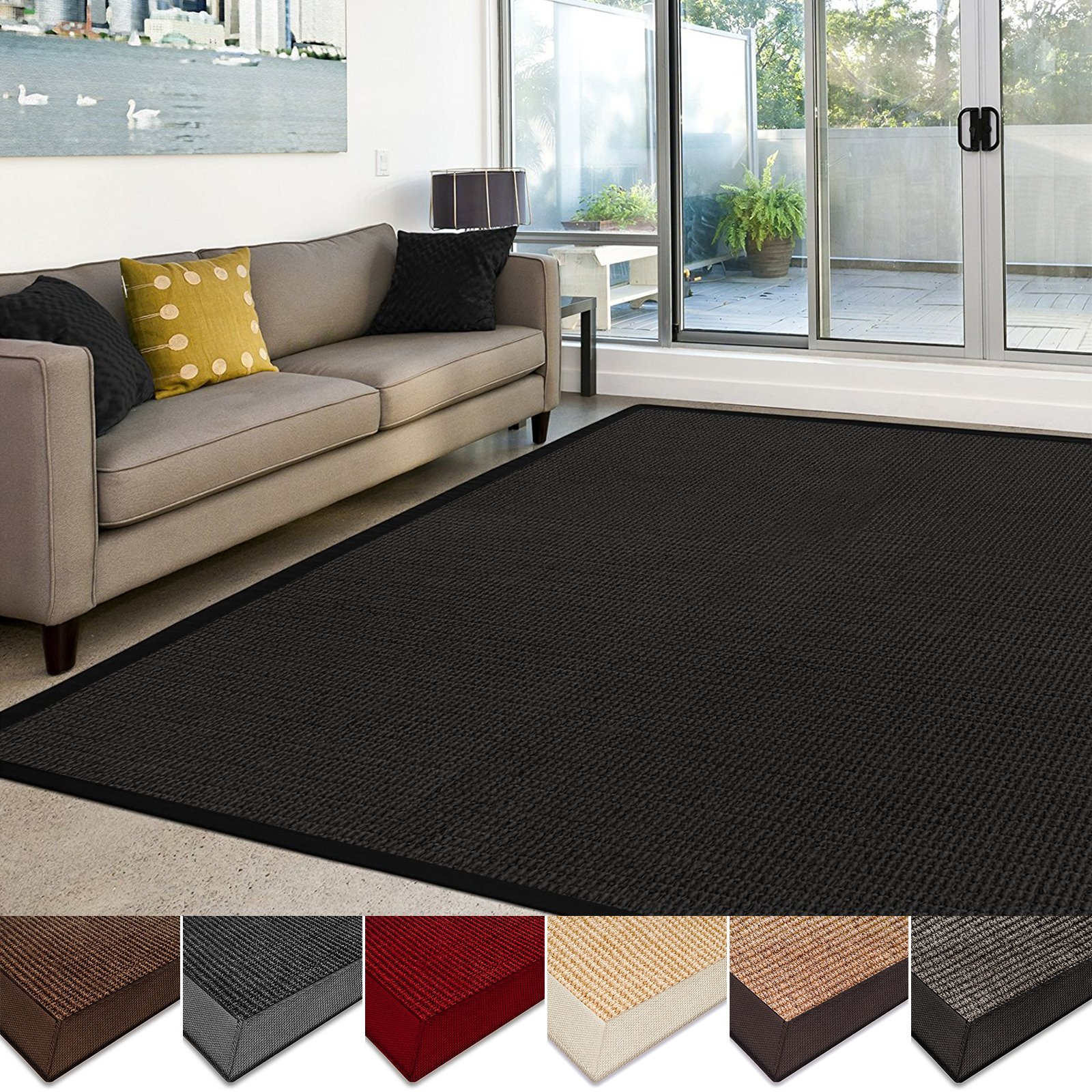 casa pura Sisal Rug   100% Natural Fiber Area Rug   Non-Skid Eco-Friendly Throw Carpet for Entryway, Dining or Living Room   Various Colors and Sizes   Black - 6'x9' by casa pura