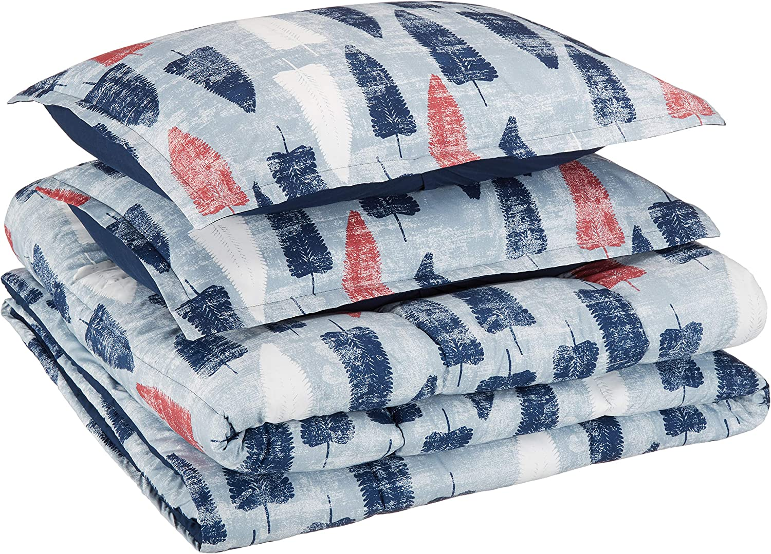 AmazonBasics Kid's Comforter Set - Soft, Easy-Wash Microfiber - Full/Queen, Blue and Red Feathers
