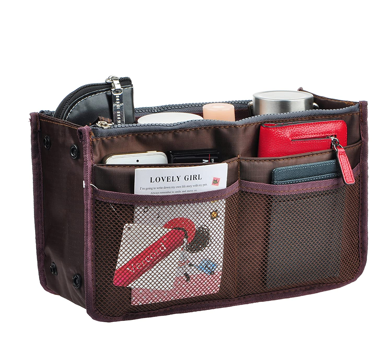 Coffee Vercord Updated Purse Handbag Organizer Insert Liner Bag in Bag 13 Pockets 3 Size