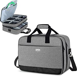 CURMIO Travel Carrying Case Compatible with Xbox One/ Xbox One X/ Xbox 360/ Xbox Series S, Portable Storage Bag Organizer for Xbox Game Console and Other Accessories, Gray