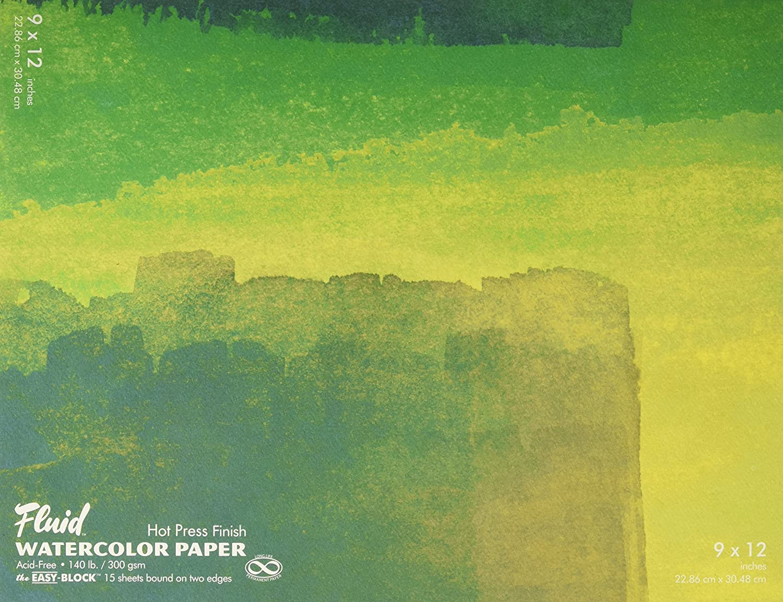 Fluid Watercolor Hot Press Block 9X12 GLOBAL ART N/A