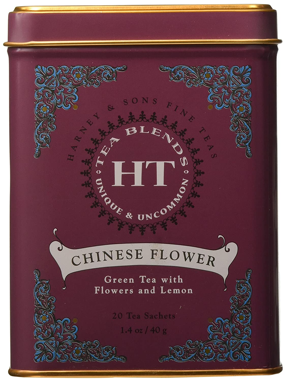 Chinese flower tea - Amazon Com Harney Sons Caffeinated Chinese Flower Green Tea Tin 20 Sachets Grocery Gourmet Food