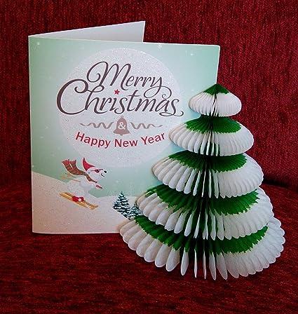 Pop Up 3d tarjeta de Navidad decoración escena de esquí oso ...