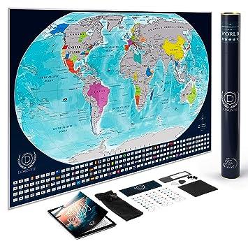 Amazon.com: donovate rascar Mapa del mundo para los viajeros ...