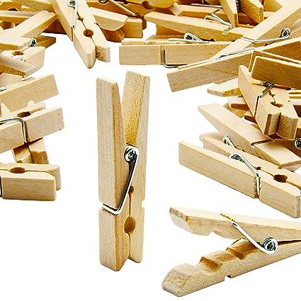 Letoma 24 Deko Holzklammern 5 Cm Kleine Wäscheklammern Aus Naturholz Ideal Zum Basteln Beschriften Und Verzieren Mini Zierklammern Für Fotos