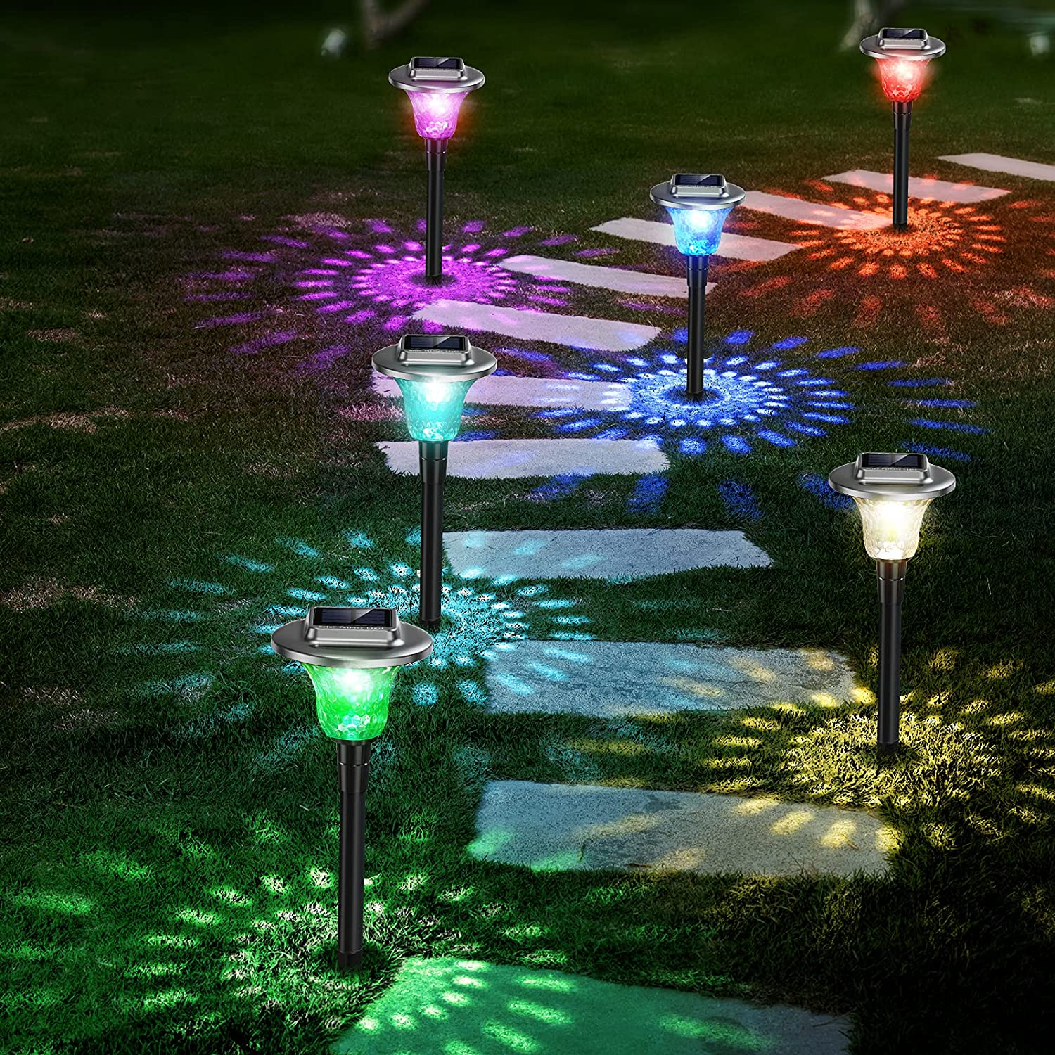 Jack & Rose Solar Lights Outdoor Pathway with Auto 7 Colors Changing, Solar Powered Garden Yard Lights, Stainless Steel Waterproof Landscape Path Lights for Patio, Lawn, Yard, Walkway (6 Pack)