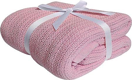 Manta de algodón 100 %, suave y acogedora, de Darling, algodón, Rosa, matrimonio: Amazon.es: Hogar