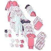 Gerber Baby Girls' 30-Piece Essentials Gift Set, Pink Princess, Newborn