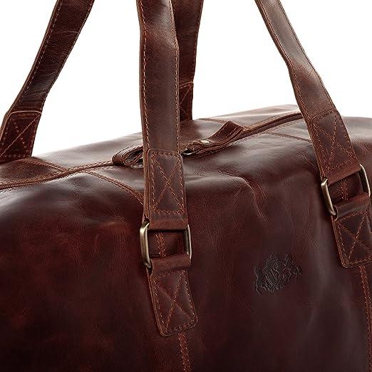 SID & VAIN® sac de voyage YALE - grand fourre-tout besace week-end - sac sport bagages cabine à main sac homme châtain clair sac cuir h5XaSiW