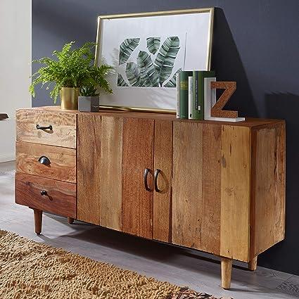Wohnling Sideboard NIMA 138x40x68 cm Massivholz Vintage ...