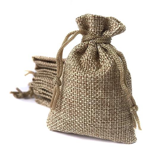 Bolsa de lino 6,5*9 cm (25 bolsas) Saquito para regalos, detalles, recuerdos, obsequios, artesanía, bricolaje, joyería, arroz, navidad, eventos, DIY. ...