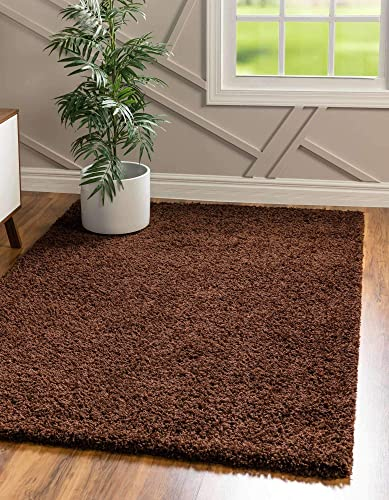 Unique Loom Solo Solid Shag Collection Modern Plush Chocolate Brown Area Rug 5' 0 x 8' 0
