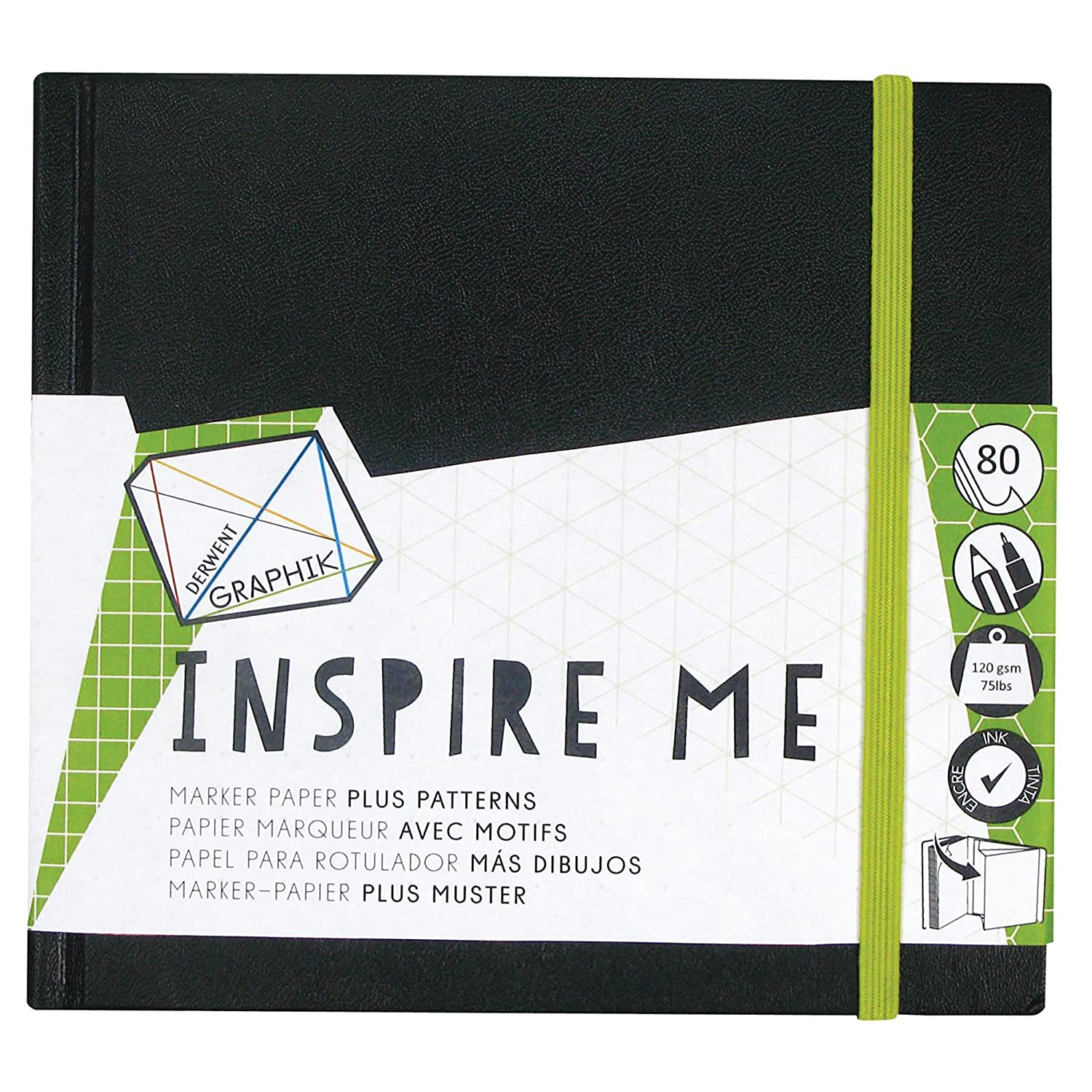Derwent Medium Sketch Book, Graphik Inspire Me, 80-Pages of Bleed Proof Patterned Paper (2302237) Reeves