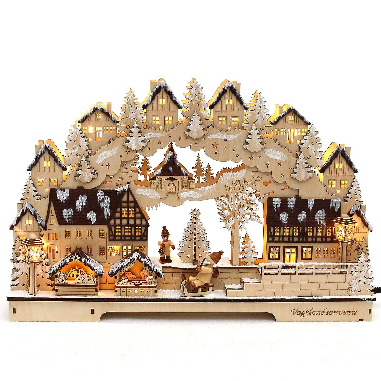 Dekohelden24 3D LED Schwibbogen mit verzierter Rückseite, Motiv  Fachwerkhäuser, verschneit, ca. 45 x 8 x 29 cm