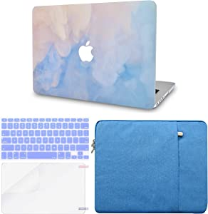 """LuvCase 4in1 LaptopCase forOld MacBook Pro 13"""" Retina Display (2015/2014/2013/2012) A1502/A1425HardShellCover,Sleeve,Keyboard Cover & Screen Protector(Blue Mist)"""