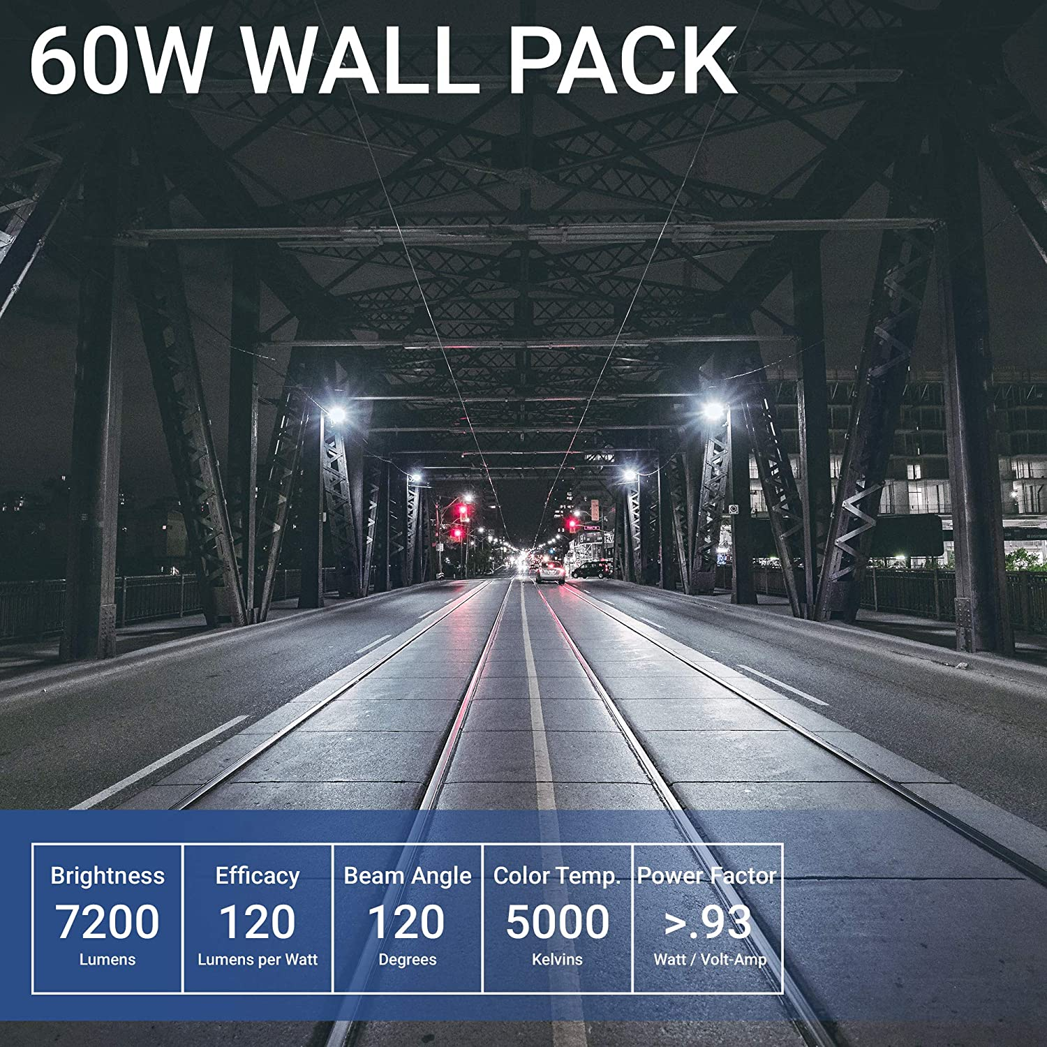 Hyperikon 60W LED Wall Pack UL Listed 5000K Warehouse Light IP65 HPS//HID Replacement Outdoor 7200 lumens Garage