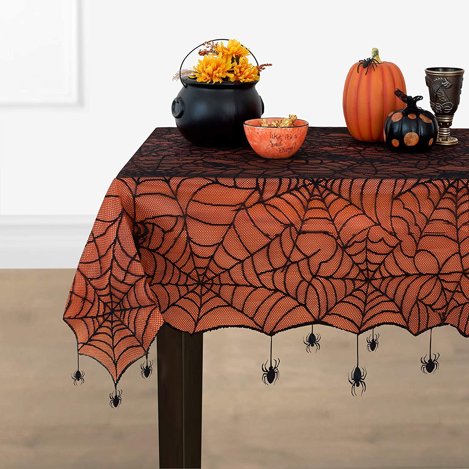 Elrene Home Fashions Crawling Halloween Spider Web Lace Lined Tablecloth, 60
