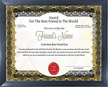 happy giftmart wooden personalized best friend award certificate for