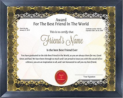 Happy GiftMart Wooden Personalized Best Friend Award Certificate For Birthday Or Friendship Day Gift Multicolour