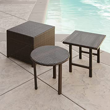 Lakeport Patio Furniture 3 Piece Outdoor Wicker Side Table Set