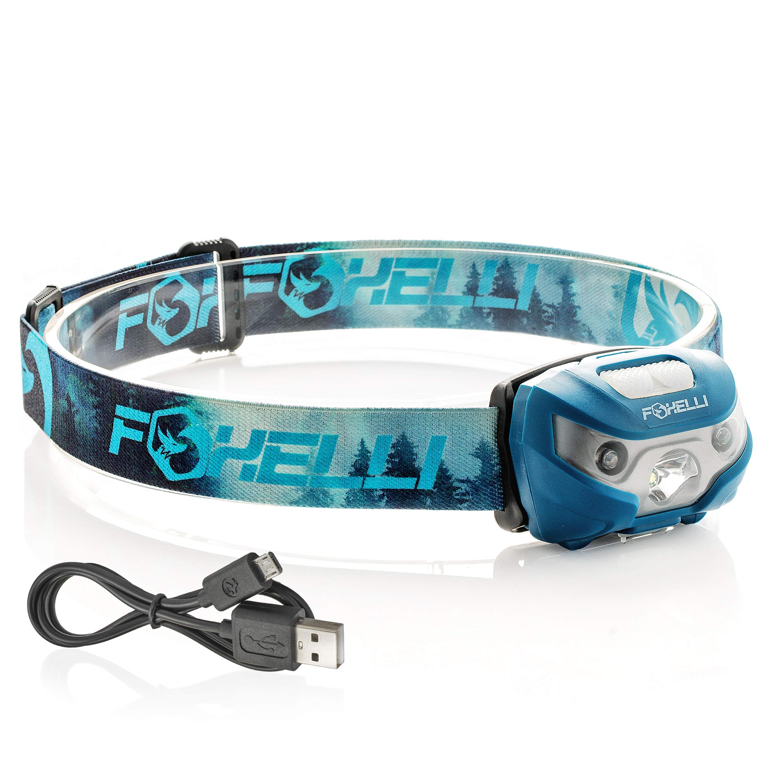 Foxelli USB Rechargeable Headlamp Flashlight - 160 Lumen, up to 30 Hours of Constant Light on a Single Charge, Super Bright White Led + Red Light, Compact, Easy to Use, Headlight for Camping & Running by Foxelli