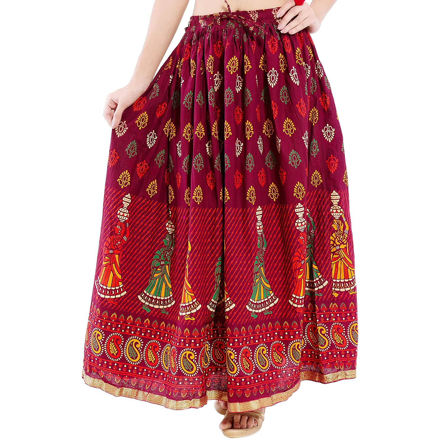 5f520e823db DISHA Cotton multi colur printed Straigh long Skirt for women (size   length- 39 Inches) Waist- non stretch- 26 X After Stretch- 42 Inches   Amazon.in  ...