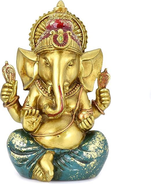 BangBangDa Yoga Meditation Indian Ganesha Figurine Fengshui Elephant Buddha Statue Hindu God Idols Lord Ganesh Statue Wedding Gifts Diwali Gifts Birthday Gifts Gold