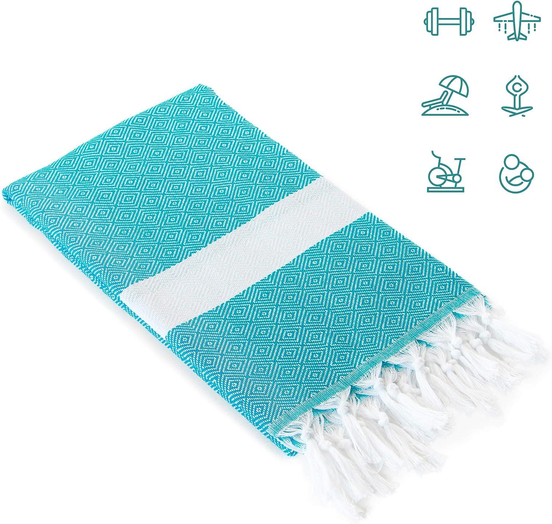 Asciugamano XXL 175 x 100 cm 100 x 175 Asciugamano da sauna Turquoise Home Premium Asciugamano Grande Turco Pestemal Telo da bagno Blu