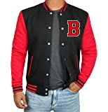 Black and Red Letterman Jacket Men - High School Varsity Mens Baseball Jacket